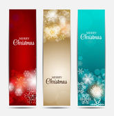 Christmas Snowflakes Website Banner and Card Background Vector I — Stock Vector