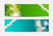 Bannière de site web noël flocons de neige et de la carte vectorielle de fond j'ai — Vecteur
