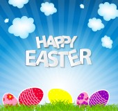 Happy Easter Spring Background Vector Illustration — Vettoriale Stock