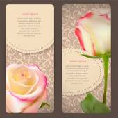 Beautiful Floral Cards with  Realistic Rose Flowers Vector Illus — Vector de stock