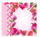 Vintage Frame with Bow, Ribbon and Tulip Folwers  Background. Ve — Stock Vector