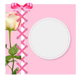 Vintage Frame with Bow, Ribbon and Rose Folwer  Background. Vect — Stock Vector