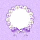 Vintage Pearl Frame with Bow  Background. Vector Illustration. — Vettoriale Stock