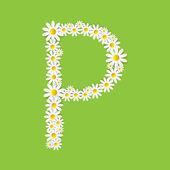 Flora Daisy Design Alphabet Vector Illustartion — Stock Vector