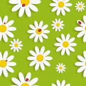 Flora Daisy Seamless Pattern Design Vector Illustartion — Stock Vector
