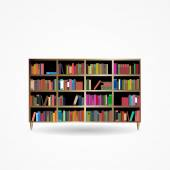 Bookcase with Books Icon Vector Illustration — Stock Vector