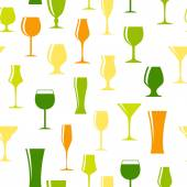 Alcoholic Glass Silhouette Seamless Pattern Background Vector Il — Stok Vektör