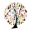 Vector Illustration of Silhouette Alcohol Bottle on Tree Concept — Stock Vector #72249403