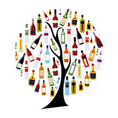 Vector Illustration of Silhouette Alcohol Bottle on Tree Concept — Stock Vector