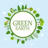 Illustration de vecteur naturel terre verte concept — Vecteur
