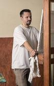 Unsatisfied painter analyzing work — Stock Photo