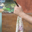 Painters hand with brush and rag — Stock Photo #62003671