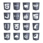 Vector web shields icon set grey variant — Stock Vector #53126501