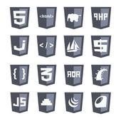 Vector web shields icon set grey variant — Stock Vector