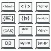Web development icon, set on laptop screen — Stock Vector