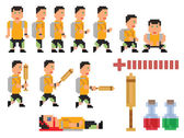 Vector collection of pixel art style person — Stock Vector