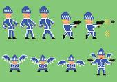 Pixel art set of bandit in blue sport clothes — Stock Vector