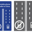 Vector set shows road traffic signs. first mobile phone sidewalks in China — Stock Photo #54221175