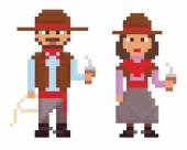 Pixel art vintage style illustrations shows male and female argentinian gaucho — Stock Vector