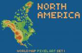 Pixel art style map of north america, contains relief continent and islands — Stockvektor