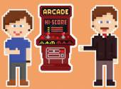 Pixel art style red arcade cabinet with two gamers — Stock Vector