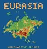 Pixel art style illustration of eurasia physical world map — Stock Vector