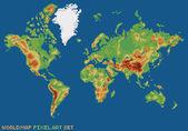 Pixel art style illustration world physical map — Stock Vector