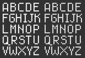 Pixel art style uppercase alphabet, white square letters on black — Stok Vektör