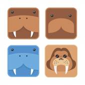 Set of minimal design flat walrus head, round edge icon blue and brown — Stock Vector