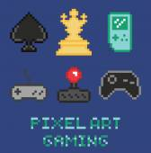 Pixel art game design icon set - chess, gamepades, cards, portable console — Vettoriale Stock