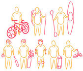 Vector illustration set of active summer activity line drawn simple — Vector de stock