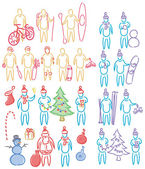 Hand drawn set of doodle human shapes, celebration christmas — Stock Vector