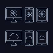 Lines drawn icon set - computer monitor, smart phone, tablet with cloud and box on the screen — Stock Vector