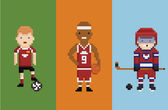 Pixel art style illustration - sportsman football basketball hockey with items ball puck and bandy — Vector de stock