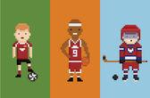 Piksel sanat stil illüstrasyon - sporcunun futbol basketbol hokeyi öğelerin topu puck ve bandy ile — Stok Vektör
