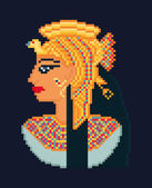 Vector pixel art illustration of woman cleopatra portrait  from ancient Egypt — Stock Vector