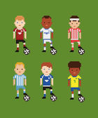 Pixel art style vector set - football soccer players in different uniforms on green field holding the ball with his leg — Stock Vector