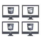 Vector collection of web development shield signs php. isolated  grey icons — Stock Vector