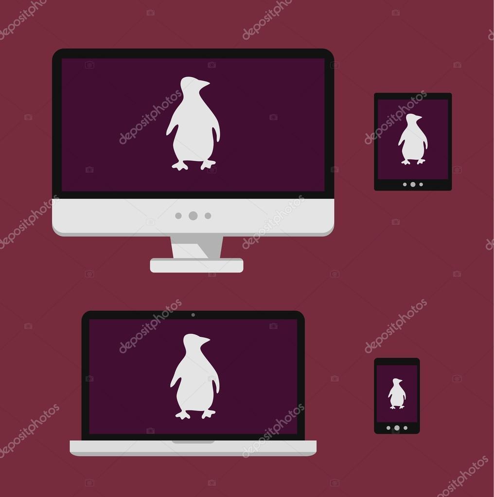 ベクトル イラスト ノート パソコン、スマート フォン、タブレット、白い linux ペンギン シルエット分離した