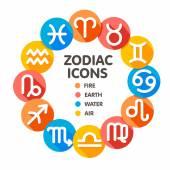 Flat trendy zodiac symbols 2 — Vetor de Stock