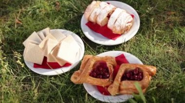 Pastries on a saucer in the grass - a picnic — Stock Video