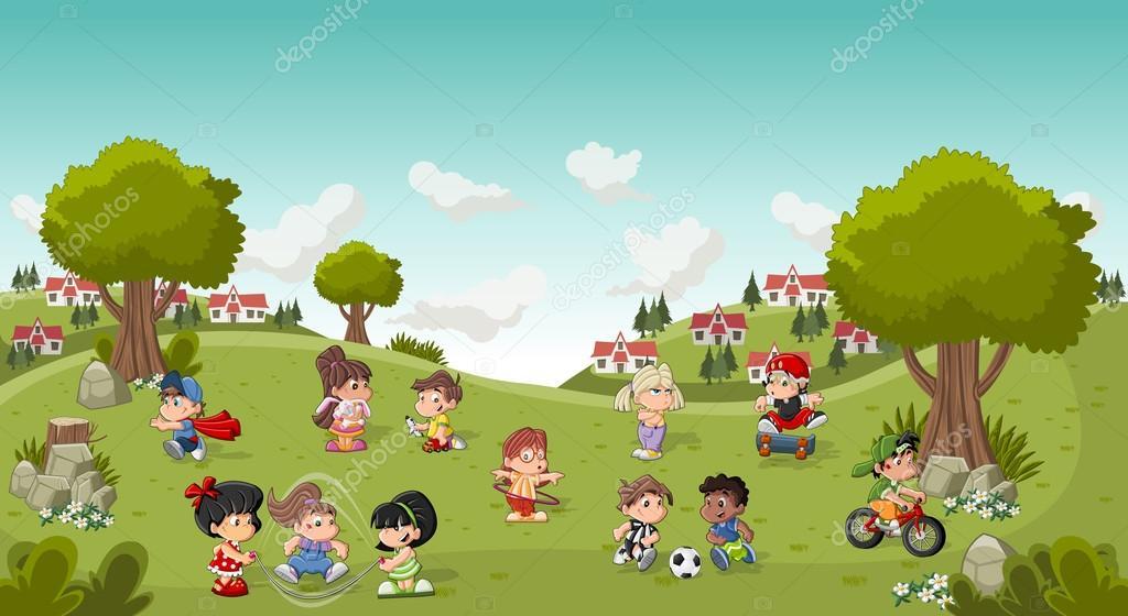 Park I Staden Med Lekande Barn Tecknade. Sport Och