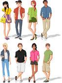 Cartoon young people. Teenagers. — Stock Vector