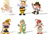 Cartoon kids wearing costumes — Stok Vektör