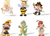 Cartoon kids wearing costumes — Stock vektor