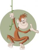 Cartoon happy brown monkey — Vecteur