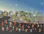 Cartoon people on suburb neighborhood on christmas night — Stock Vector
