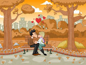 Young romantic couple passionately kissing — Stock Vector