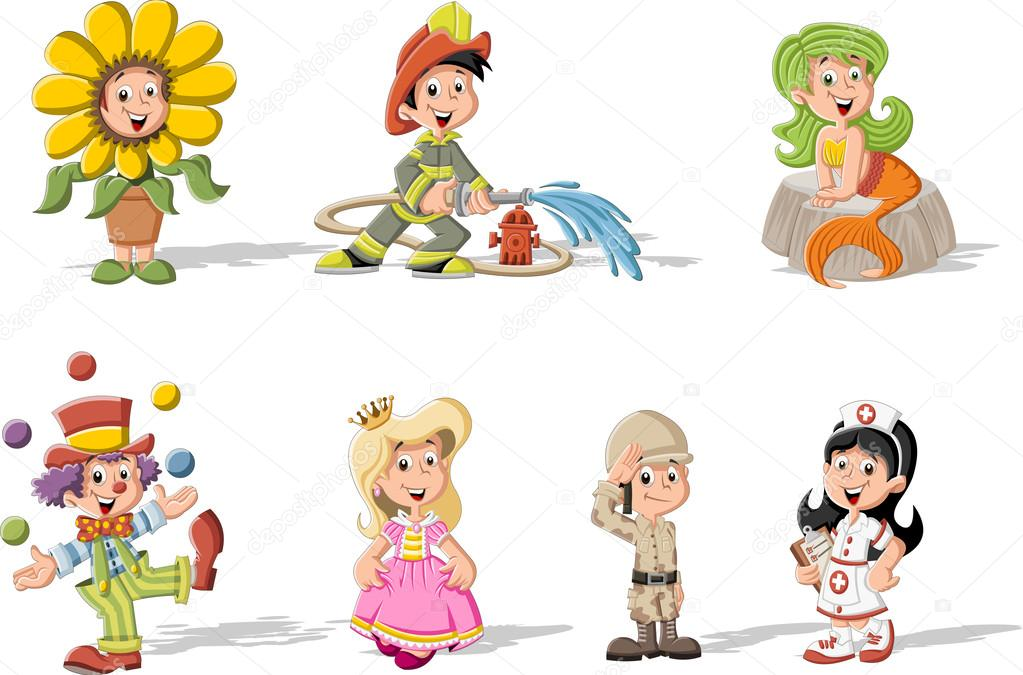 Enfants dessin anim v tus de costumes diff rents image vectorielle deniscristo 53106245 - Dessin groupe d enfants ...