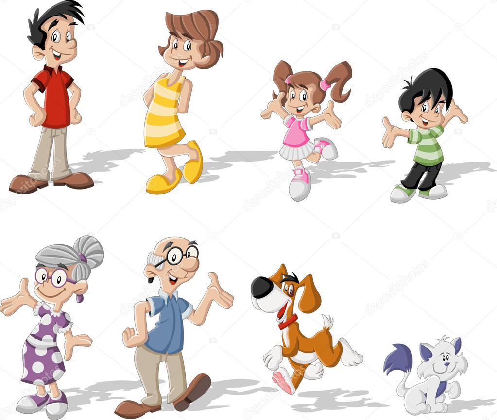 Famiglia di cartone animato con animali — vettoriali stock